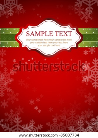 Red frame design for xmas card - stock vector