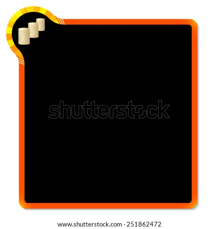 red frame with yellow corner and coin - stock vector