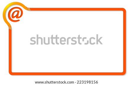 red frame with yellow corner and email icon - stock vector