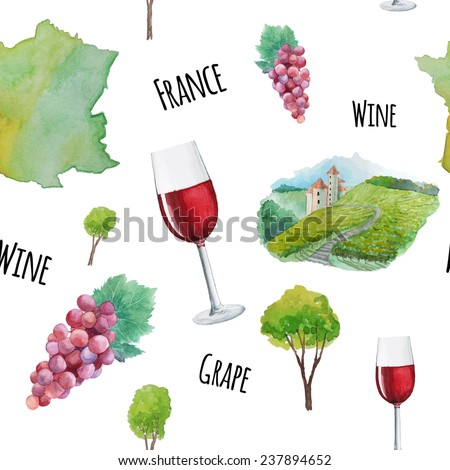 Red french wine pattern. Watercolor hand drawn seamless texture with wineglass, France country, grapes and landscape. - stock vector