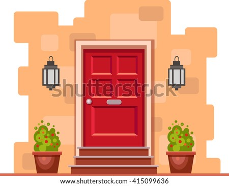 Red front door on the yellow brick wall with two pots with plants and lights. Vector building element. Cartoon house illustration  - stock vector