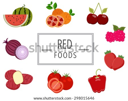 Red fruits and vegetables design, illustration, vector - stock vector