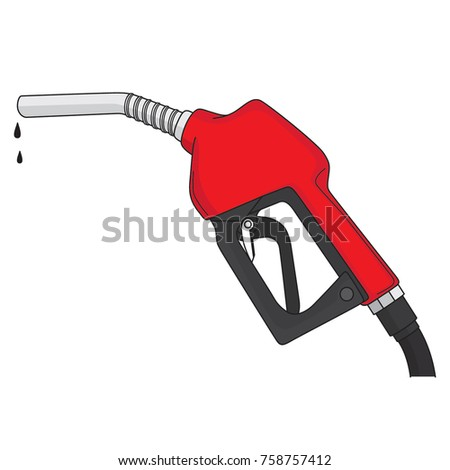Red fuel nozzle / gus pump isolated on a white background, color line art, vector illustration