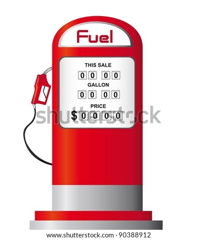 red fuel pump isolated over white background. vector - stock vector