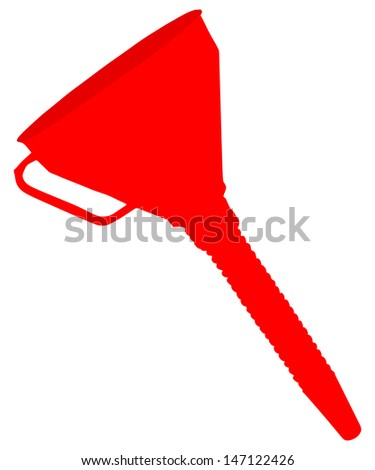Red funnel vector isolated on white background. Plastic funnel on a white background. Horizontal position.  - stock vector