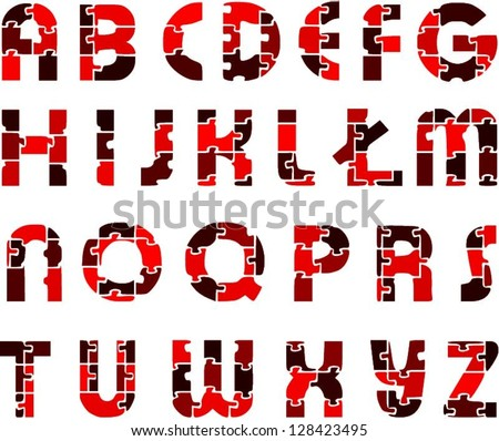 Red Funny Alphabet Letters Made Puzzles Stock Vector 128423495 ...