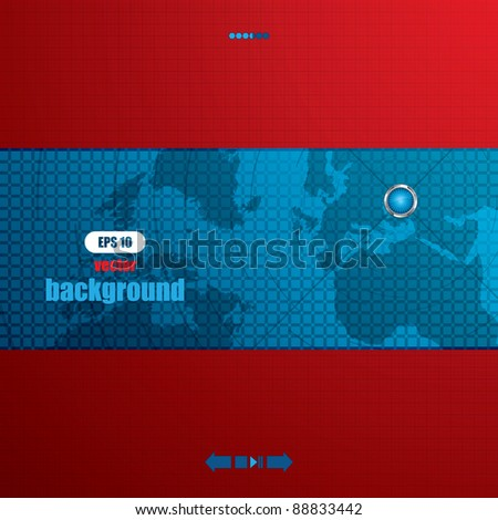 Red futuristic vector design template with earth globe.Brochure - stock vector