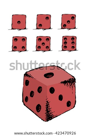Red Game dice set. Luck, success. Hand drawn vector stock illustration. Isolated on white background - stock vector