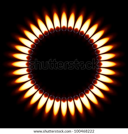 Red Gas Flame. Illustration on black background - stock vector