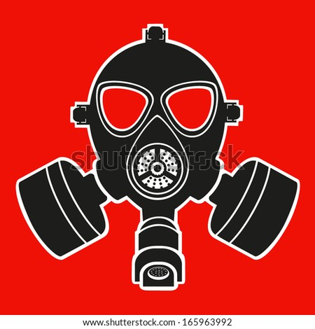 red gas mask - stock vector