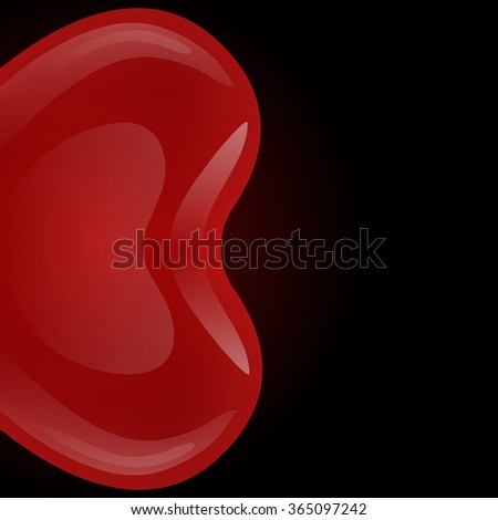 Red gel floating balloon in the shape of heart looks to the left on a black background. - stock vector