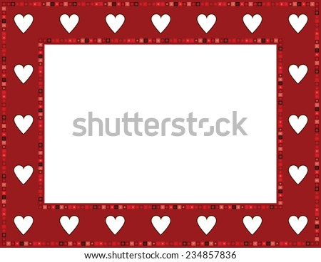 Red Gem Heart Frame-Red Gem Heart patterned frame with beaded mosaic border; can be used for Valentines invite, baby showers or other occasions  - stock vector