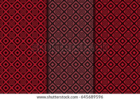 Red geometric seamless pattern on black background