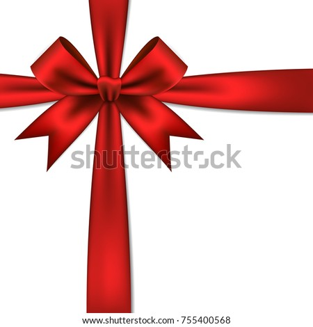 Red gift bow ribbon stock vector 755400568 shutterstock red gift bow and ribbon negle Image collections