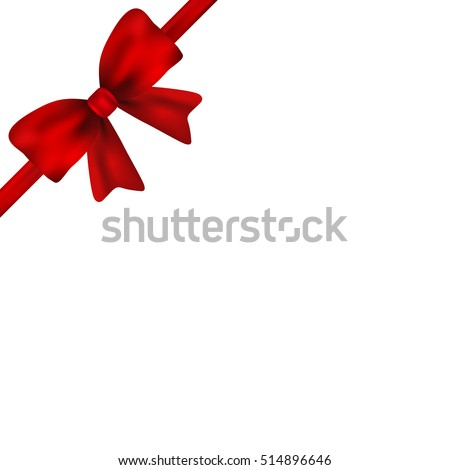 Red gift bow of ribbon isolated on white background