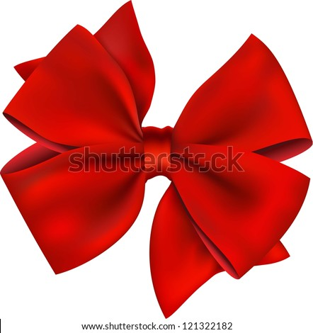 Red gift bow. Ribbon. Isolated on white - stock vector