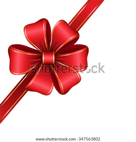 red gift bow with ribbon isolated Vector