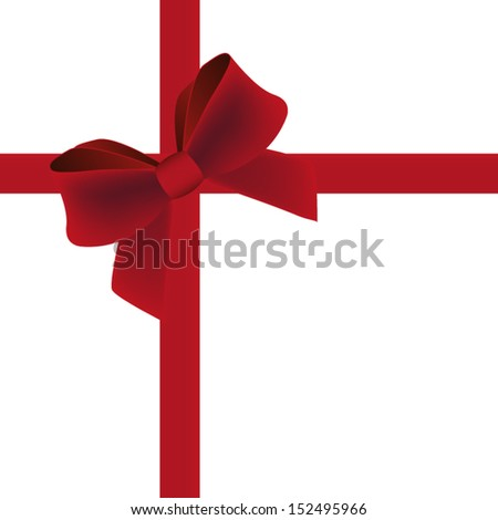 Red gift bow with ribbon. Vector  - stock vector
