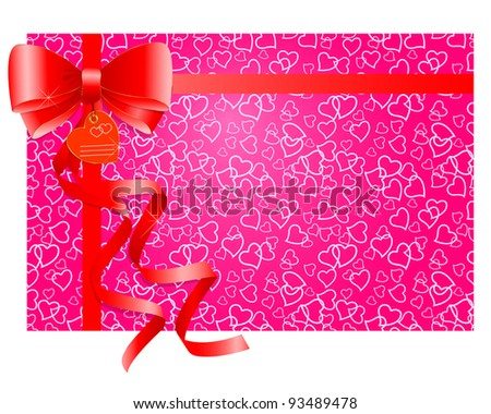 Red gift bow with ribbons on a pink background with hearts. EPS 10. Vector illustration.