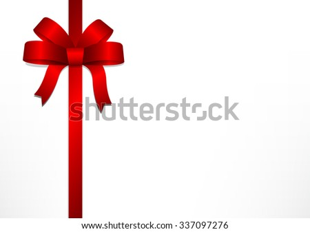 Red gift bows and ribbons on white gift box background for Christmas, New year and Valentine, vector illustration - stock vector