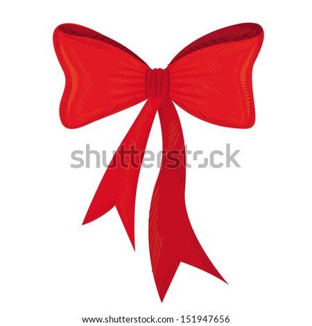 red gift bows isolated over white background. vector illustration