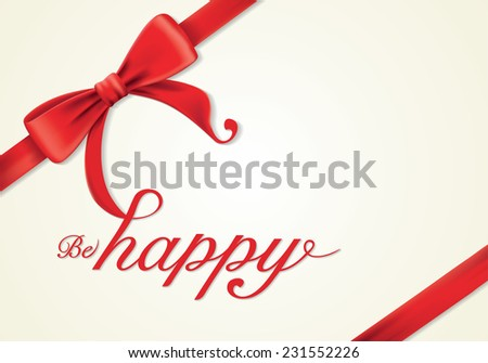 Red gift bows with ribbons, Vector, greeting card