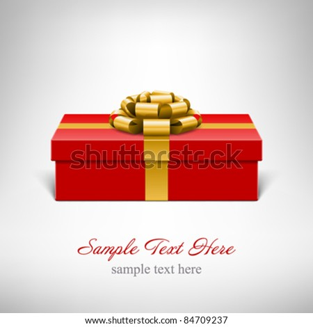 Red gift box with gold bow. Vector background eps 10. - stock vector