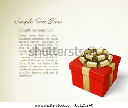 Red gift box with gold ribbon and bow. Vector background eps 10. - stock vector