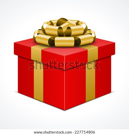 Red gift box with golden ribbon isolated on white. Vector illustration. - stock vector