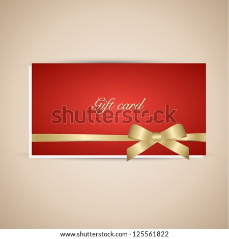 Red gift card with gold ribbon. Vector background