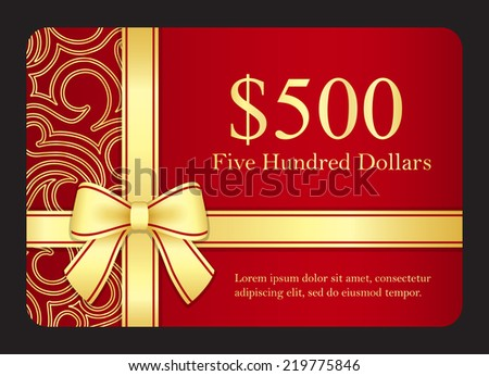 Red gift card with golden swirls and ribbon - stock vector