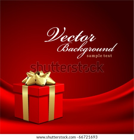 Red gift on silk vector background - stock vector