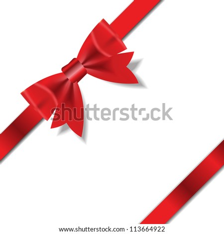 Red Gift Ribbon . Vector illustration - stock vector
