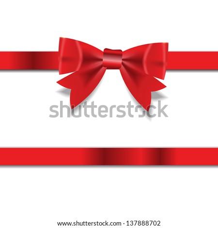 Red Gift Ribbon . Vector illustration - stock vector