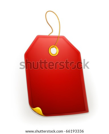Red Gift Tag, eps10 - stock vector