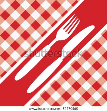 Red Gingham Menu Card - stock vector