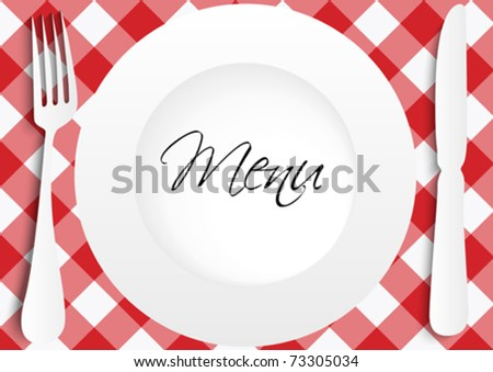 Red Gingham Menu Card Design - stock vector