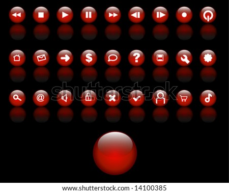 Red Glass Buttons Vector