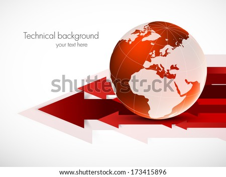 Red globe with arrows - stock vector