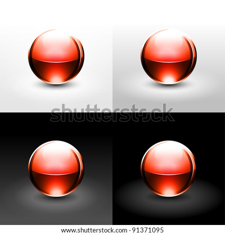 Red gloss ball with black shadow and glowing on white, gray and black background. This vector illustration created in the technique of wire mesh and saved 10 eps - stock vector