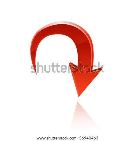 Red glossy arrow. Vector - stock vector