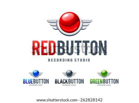 Red glossy button with metal wings. Logo design template. Vector art. - stock vector