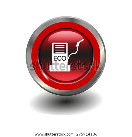 Red glossy button with metallic elements and white icon biofuels, vector design for website - stock vector