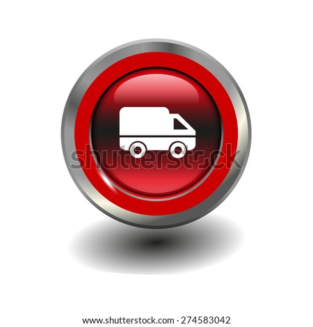 Red glossy button with metallic elements and white icon delivery, vector design for website - stock vector