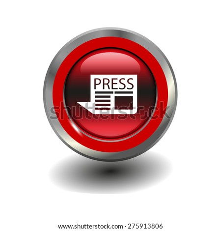 Red glossy button with metallic elements and white icon newspaper, vector design for website - stock vector