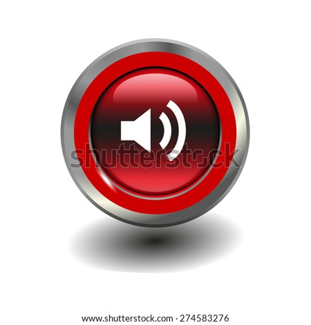 Red glossy button with metallic elements and white icon volume high, vector design for website - stock vector