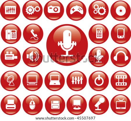 red glossy buttons. vector - stock vector