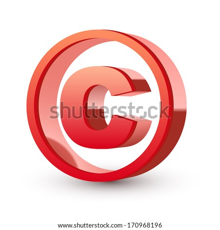 red glossy copyright symbol isolated white background - stock vector