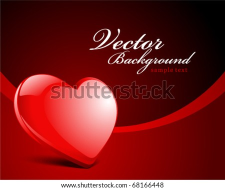Red glossy heart in perspective vector background