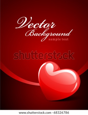 Red glossy heart Valentine's day vector background